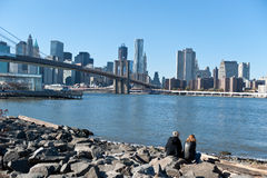 Looking over downtown manhattan Royalty Free Stock Photos