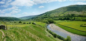 Looking over fields by the river Swale Stock Photos
