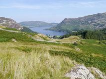 Looking over grassy bank to Ullswater, Lake District Royalty Free Stock Photography