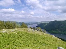 Looking over hill to Ullswater, Lake District. Viewed from above Glencoyne Wood stock photo