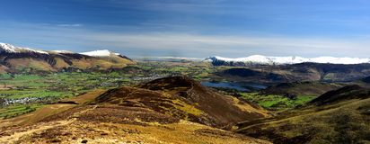 Looking over Keswick in early spring. Down over Outerside and Barrow to Keswick Stock Photography