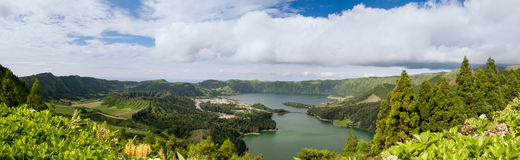 Looking over Lagoa Azul and Lagoa Verde, Sao Miguel Royalty Free Stock Images
