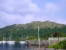 Looking over lake to moored boats Royalty Free Stock Photo