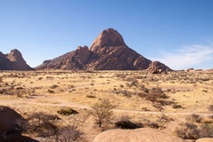 Looking Over Namib Desert with Spitzkoppe Mountain, Namibia Royalty Free Stock Photo
