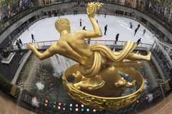 Looking over Prometheus in Rockefeller Plaza, NYC Royalty Free Stock Photography