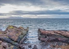 Looking Over Red Craggie Rocks to The River clyde in Scotland stock image