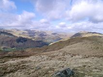 Looking over rolling hills down to Ullswater, Lake District Royalty Free Stock Photo