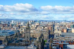 Glasgow skyline. Looking over the rooftops of Glasgow city centre towards George Square and the City Chambers royalty free stock photos