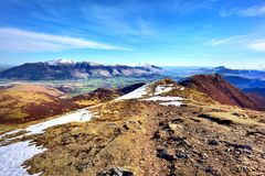 Looking over Scar Crags and Causey Pike. Early Spring on Skiddaw and Blencathra Royalty Free Stock Photography