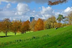 Looking Over the Slanted Embankments of Bellahouston Park to the stock images