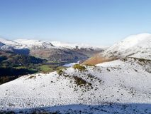 Looking over snow to Ullswater Stock Photos