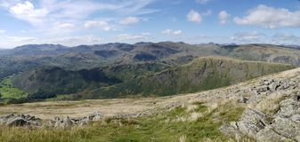 Looking over Steel fell, Helm Crag ridge, panoramic Stock Photography