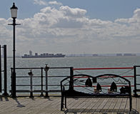 Looking over Thames estuary from Southend Pier Stock Photo