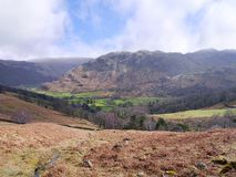 Looking over to the Borrowdale Fells Stock Photography