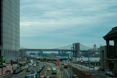 Looking over to the bridges of New York stock photo