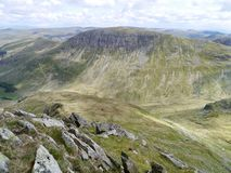 Looking over to St Sunday Crag from arete on Nethermost Pike Royalty Free Stock Photo