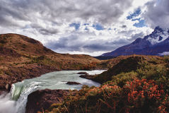 Looking over to the views of Torres Del Paine Mountains in Chilean Pataghonia Royalty Free Stock Photo