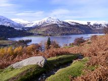Looking over Ullswater to Glenridding on winter day Stock Photos