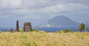 View of St Eustatius with volcano stock photography