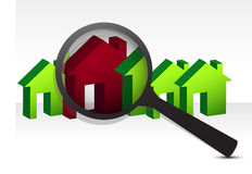 Looking for the perfect house. Illustration design over white Royalty Free Stock Images