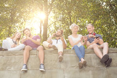 Looking at photos. Young students sitting together on the parapet and looking at photos in smartphones royalty free stock photo