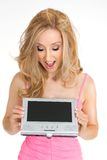 Looking at portable lcd screen Royalty Free Stock Photography