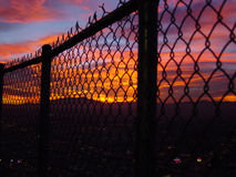 Looking from prison. View of the sunset from Stratosphere Tower in Las Vegas Stock Image