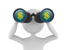 Looking for Profit. Concept depicting 3D man looking for profit in dollars with the help of binoculars Royalty Free Stock Image