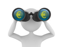 Looking for Profit. Concept depicting 3D man looking for profit in euros with the help of binoculars Stock Photos