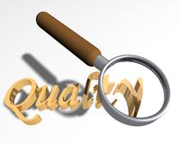 Looking for quality. Magnifying glass over the word Quality royalty free illustration