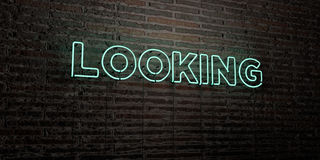 LOOKING -Realistic Neon Sign on Brick Wall background - 3D rendered royalty free stock image Stock Image