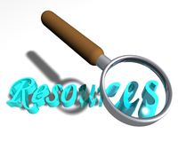 Looking for resources. Magnifying glass over the word Resources stock illustration
