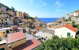 Looking into Riomaggiore, small Italian riviera town Royalty Free Stock Photo