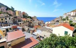 Looking into Riomaggiore, small Italian riviera town Royalty Free Stock Photo