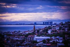 Blue hour in old town Puerto Vallarta royalty free stock image