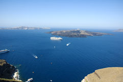 Looking from Santorini island into the Caldera Stock Photos