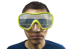 Looking at sea and reflected in the glasses Royalty Free Stock Photo