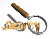 Looking for security. Magnifying glass over the word Security royalty free illustration