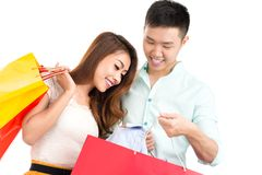 Looking at the shopping bag Royalty Free Stock Photography