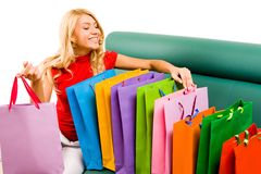 Looking through shoppingbags Royalty Free Stock Photos