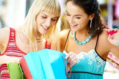 Looking through shoppings royalty free stock photo