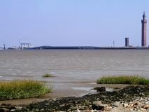 Looking from shore over water to cargo facility Stock Photography