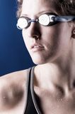 Looking sideways woman swimmer Stock Image