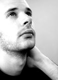 Looking at the sky. Black and white portrait Stock Photo