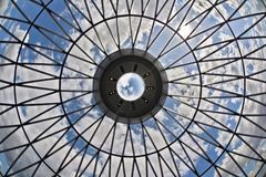 Looking at the sky through a glass ceiling Royalty Free Stock Images