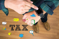 Looking At Smart Watch, Businessman Tax Economy Refund Money Royalty Free Stock Images