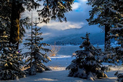 Looking Through The Snowy Landscape To The Lake Stock Images