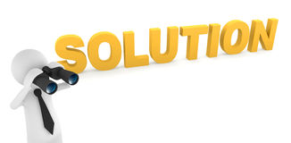 Looking for Solution. Solution concept, depicting 3D businessman looking for solution with binoculars Stock Photography