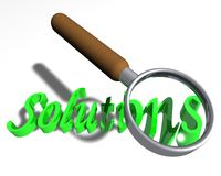 Looking for solutions. Magnifying glass over the word Solutions stock illustration