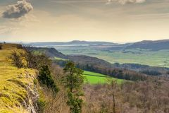 Looking South along Scout Scar with Arnside in the distance. Stock Image